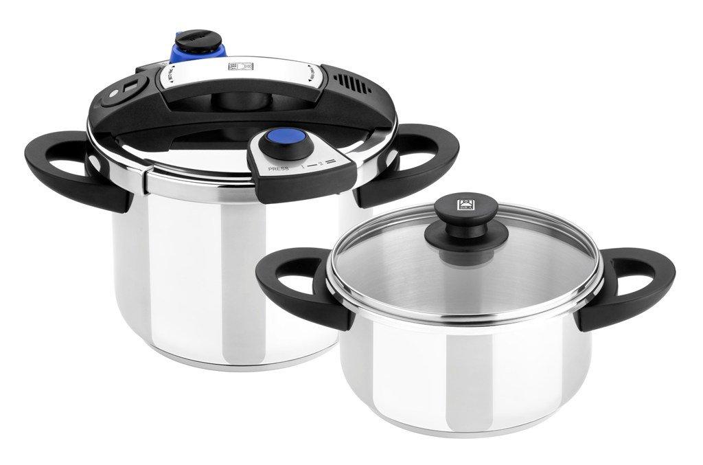 BRA Facile - Set duo de ollas a presión rápidas, 4 y 7 litros,