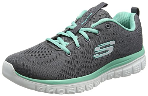 Connected Graceful Grigio Skechers Donna Sneaker Green Charcoal Get HBROF