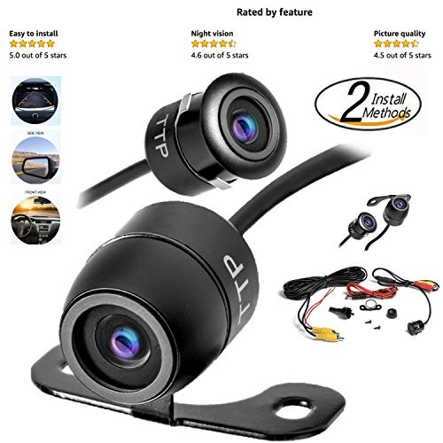 Upgraded Mini Backup Camera 170° Viewing Angle Multi-Function Car Reversing Rear View/Side View/Front View & Security Pinhole Spy Camera (TTP-C12B)