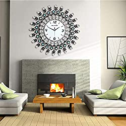 NEOTEND 3D Wall Clock 98pcs Diamonds Decorative Clock White Diameter 23.6