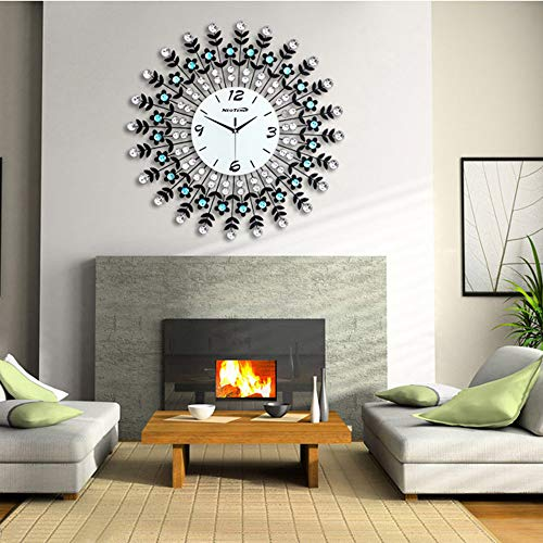 NEOTEND Large Decorative Wall Clock 3D Silent Wall Clock for Living Room Non Ticking Modern Clock White