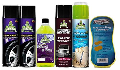 [해외]크리스탈 제품 Untouchable 수 없는 습식 타이어 마무리 번들 + GX-3 플라스틱 복원 왁 스 (6 품목) / Cristal Products Untouchable Wet Tire Finish Bundle with GX-3 Plastic Restorer Wash & Wax and More (6 Items)