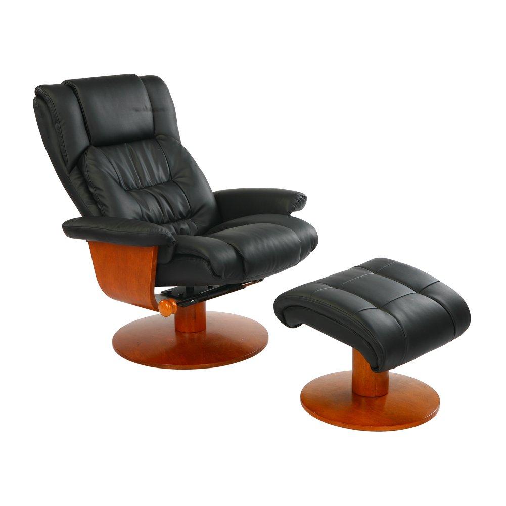 NEOWISER Liegestuhl Entspannung Sessel Leder mit Fußhocker Schwarz