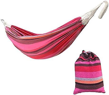 Hamaca de algodón para jardín, 2 plazas, 220 x 160 cm, hamaca doble de camping portátil con funda de transporte, carga máxima: 250 kg., rosa: Amazon.es: Hogar