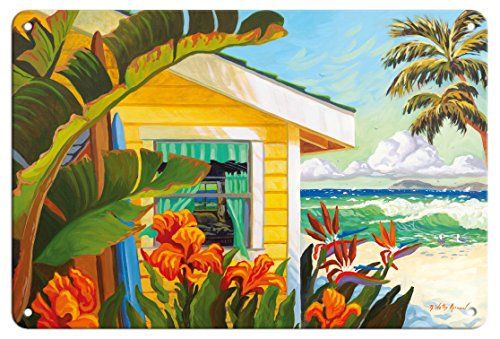 (Pacifica Island Art 8in x 12in Vintage Tin Sign - The Cottage at Crystal Cove - Laguna Beach California - Tropical Paradise by Robin Wethe Altman)