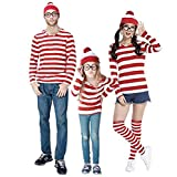 JALYCOS Where's Waldo Costume - Halloween Cosplay Costume - Red and White Striped Cosplay T-Shirt - Outfit Glasses Hat Shirt Suits