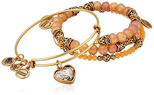 Alex and Ani Crystal Patina Heart Set of 3 Bangle Bracelet