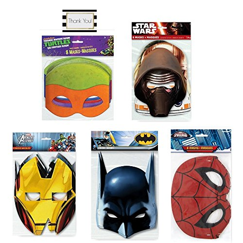 [Ultimate Super Hero Party Masks (40 Total Masks) Star Wars - Avengers - Spider-Man - Teenage Mutant Ninja Turtles -] (Amazing Spider Man Costumes 360)