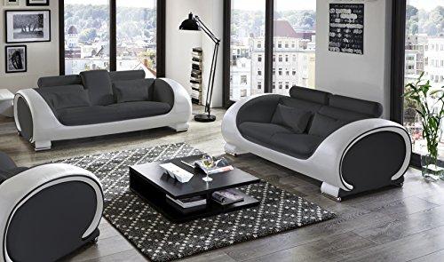 SAM® Wohnzimmer Sofalandschaft Vigo in grau/weiß 2-Teilig 3-Sitzer, 2-Sitzer, mit integriertem ausklappbarem Getränkehalter - designed by Ricardo Paolo®