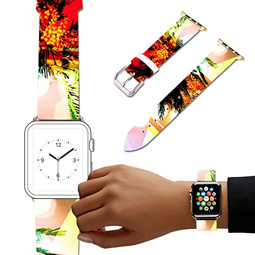 For Apple Watch, Natural color Floral Printed Leather Watch Band 38mm 42mm Strap for Apple Watch 3, 2, 1 Flower Design Wrist Watch iwatch Bracelet-509.Mimosa bouquet in vase - Mimosa Bouquet