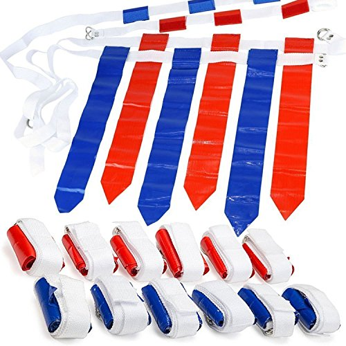 (WYZworks 12 Player 3 Flag Football Set - 12 Belts with 36 Flags [ 18 RED & 18 BLUE Flags)