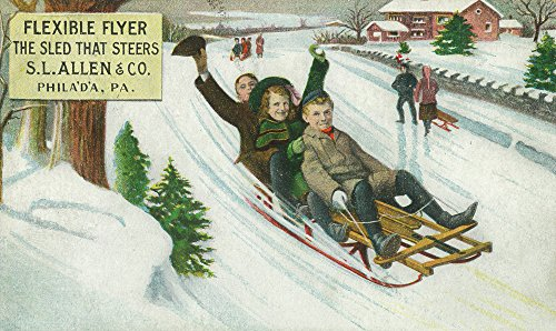 (Philadelphia, Pennsylvania - S L Allen and Co Flexible Flyer Sled (24x36 SIGNED Print Master Giclee Print w/Certificate of Authenticity - Wall Decor Travel Poster))