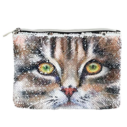 FanRich Ladies Fashion Mermaid Reversible Sequin Cosmetic Makeup Bag Clutch Handbag Glitter Coin Cards Holder Purse Wallet Pencil Pouch for Girl (Brown Cat-Silver) -