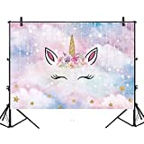 Allenjoy Unicorn Theme Birthday Backdrop 7x5ft Glitter Golden Horn Starry Stars Baby Shower Photo Background Children Party Banner for Photography or Decorations