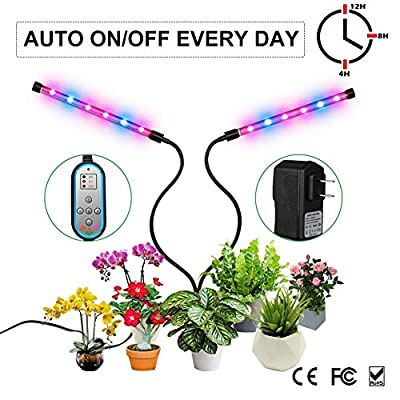 Grow Light, Auto ON & Off Every Day with Two-Way Timer Growing Lamp for Indoor Plants, High Power LED, 8 Dimmable Levels, 4/8/12H Memory Timing for Hydroponics Greenhouse Gardening