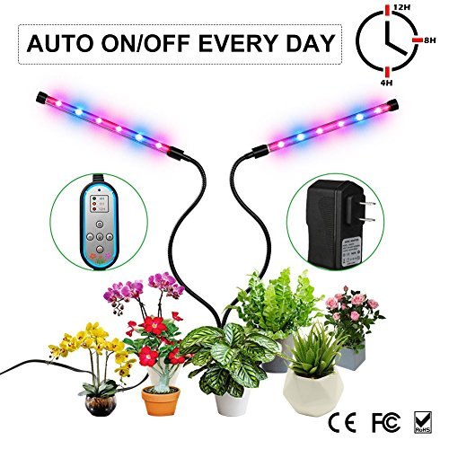 Grow Light, Auto ON & Off Every Day with Two-Way Timer 24W Dual Head Growing Lamp for Indoor Plants, High Power LED, 8 Dimmable Levels, 4/8/12H Memory Timing for Hydroponics Greenhouse Gardening by Melophy