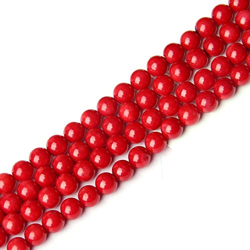 JarTc Natural Coral Stone Round Loose Beads For jewelry Making DIY Bracelet Necklace Strand 15.5'' (4mm, red)