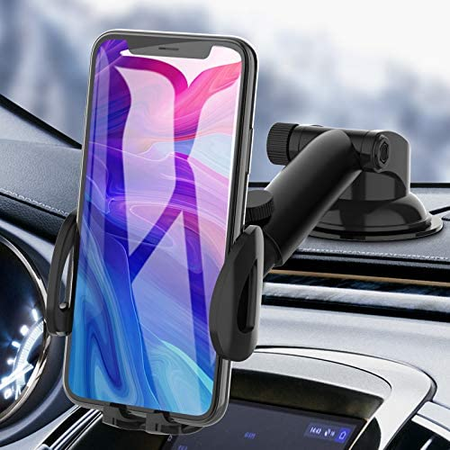 Phone Car Holder, bokilino Phone Car Mount – Cell Phone Holder for Car Dashboard Windshield, Sturdy Cup Holder Phone Mount Fit with All Mobile Phones
