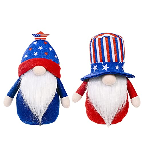 Bohang Patriotic Gnome Plush Set of 2 for Festial Party Tiered Tray Decoration, 4th of July Gnome Plush for Memorial Day, Veterans Day, Independence Day