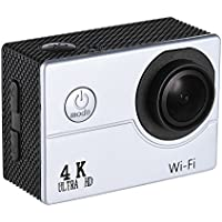 Andoer 4K 30fps 16MP WiFi Action Sports Camera 1080P 60fps Full HD 4X Digital Zoom Diving 40m 170° Wide Angle Lens 2 LCD Support Slow Motion Drama Photography (Silver)