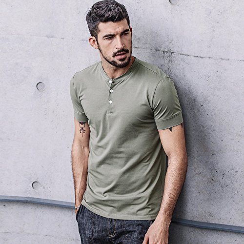 Men Casual T Shirt V Neck Short Sleeve Cotton Button Stylish Loose Slim Fit Sport Workout Outdoor Wear Gym Beach Party Hiking Travel Business Working Weekend Henley Shirts High Elasticity(MArmyGreen) by VAVE (Image #5)