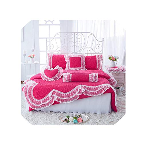 100% Cotton Thick Quilted Lace Bedding Set King Queen Twin Size Bed Set Princess Korean Girls White Pink Bed Skirt Set Pillowcase,Rose Bed Set,King Size 7Pcs
