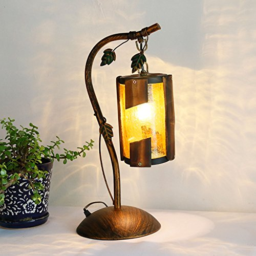 Brass Rustic Brush - Waieng Rustic Antique Brush Brass Kerosene Desk Lamps Creative Ironwork Body/Glass Crack Shade/Bamboo Bedroom Living Room Dining Room Dining Table Lamps
