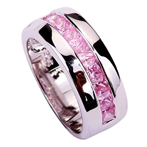 YAZILIND Women's Ring Cut Big Stone Pink Cubic Zirconia Silver Plated US Size 7 Wedding Party Gift - Big Stone Ring