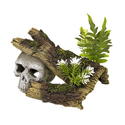 Blue Ribbon Jungle Skull Hideaway with Plants Exotic Environments Aquarium - Skull Jungle