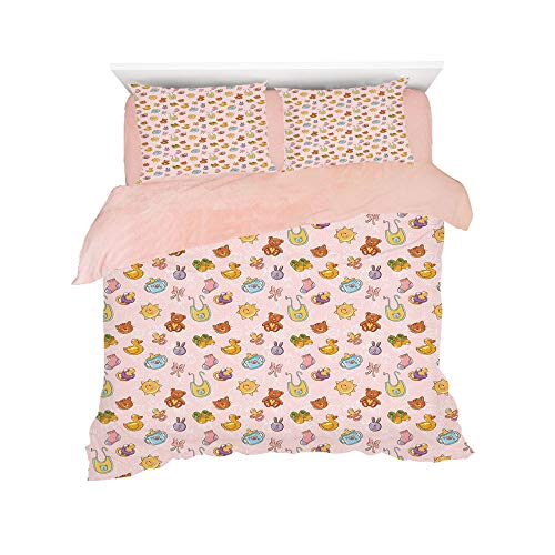Flannel Duvet Cover Set 4-Piece Suit Warm Bedding Sets Quilt Cover for bed width 5ft Pattern Customized bedding for girls and young children,Baby,Infant Toys Teddy Bears Rubber Ducks Pacifiers with Sh