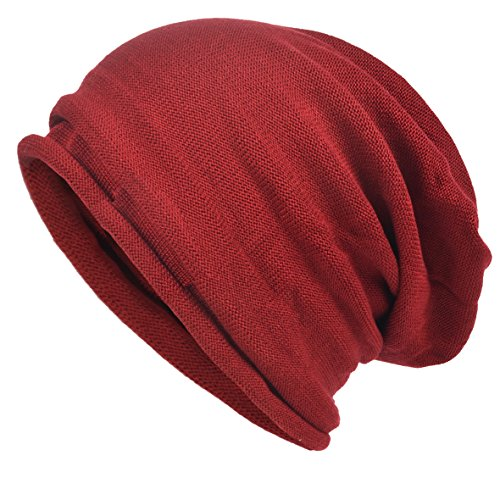VECRY Men's Cool Cotton Beanie Slouch Skull Cap Long Baggy Hip-hop Winter Summer Hat (Roll-Red)]()