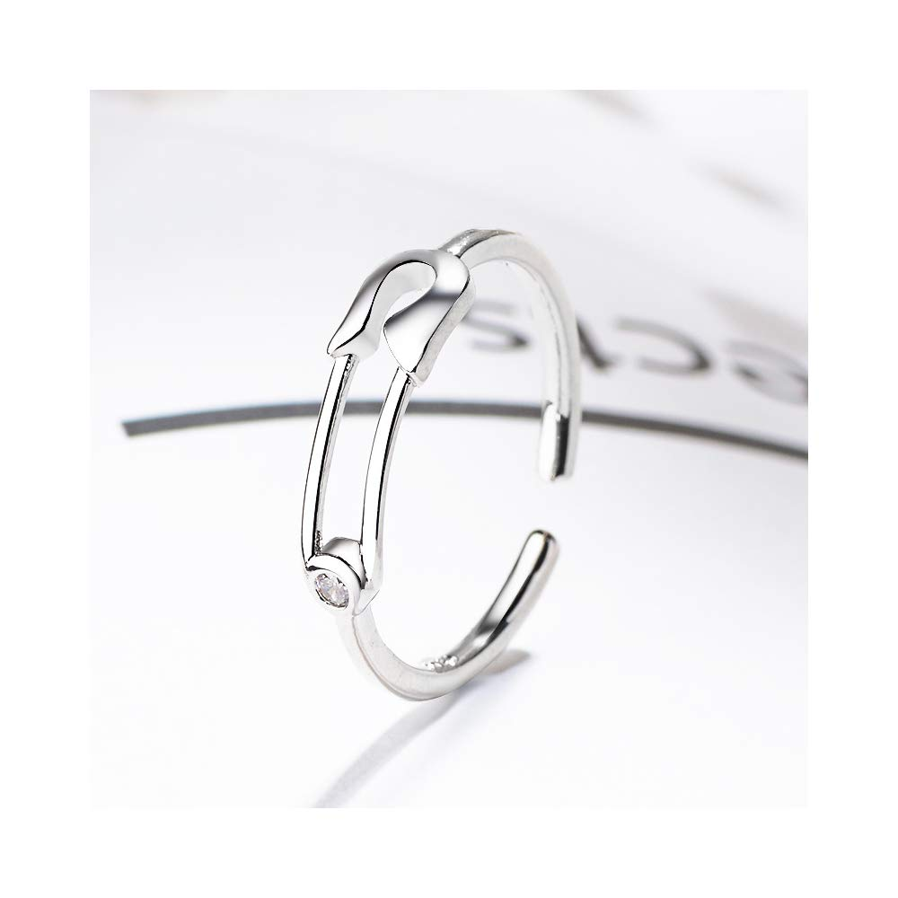 Minimalist Safety Pin Open Band Ring Adjustable CZ Stacking Wedding Rings Hypoallergenic for Women Girls