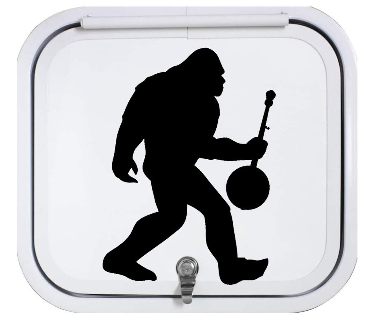 Bigfoot with Banjo Decal Sticker for Camper Black Vinyl BG 355 14 Inch