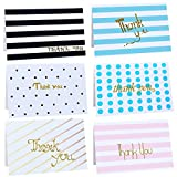 Ai-life 12Pcs Assorted Design and Color Blank Thank You Note Cards with Envelopes, Folding Gift Cards for Wedding, Graduation, Bridal and Baby Shower, Blessing, Birthday, Valentine and Christmas, 10x15cm