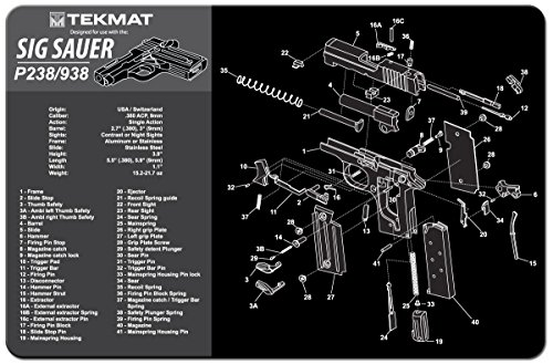 TekMat Sig Sauer P238/938 Gun Cleaning Mat/11 x 17 Thick, Durable, Waterproof/Handgun Cleaning Mat with Parts Diagram and Instructions/Black and Grey by TekMat