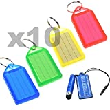 BCP 40pcs Red Green Blue Yellow Color Coded ID Tag/ Key Tag with Label Window + LCD Cleaner Stylus by BCP