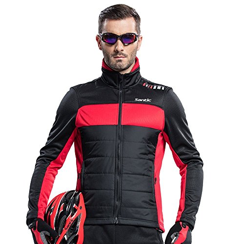 (Santic Men's Cycling Jacket Winter Coat Windproof Thermal Long Jersey Red 3X-Large(US 2XL))