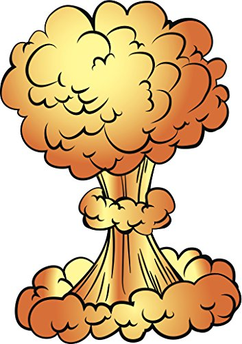 Cool Atomic Bomb Mushroom Cloud Cartoon Vinyl Decal Sticker (12
