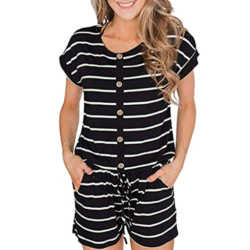 youul Women Casual Loose Short Sleeve Striped Belt Rompers with Pockets Jumpsuit Homewear Tracksuit (S, Black)