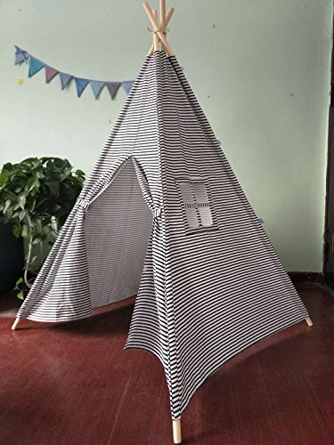 Small Boy small Black and White Stripe Canvas Play Teepee tent for kids 100% Cotton By Tiny Land small Black/White