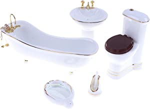 1:12 Dollhouse Miniature Porcelain Bathroom Set 5 PCS White Ceramic Toilet Basin Bathtub Mirror Miniature Furniture Doll Accessories for Bathroom Cake Topper Toy Fairy House Furniture Miniature Toys
