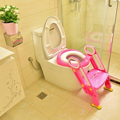 [Certifié FDA] Échelle de marchepied de toilette en autruche pour enfant et bébé, chaise de siège de toilette pour enfant, tabouret de marche pour enfant en bas âge pour fille et garçon (rose)