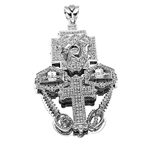 Huge 3D Jesus Piece Combo Head Cross Last Supper Silver Tone Big Iced-Out Hip Hop Charm Pendant -