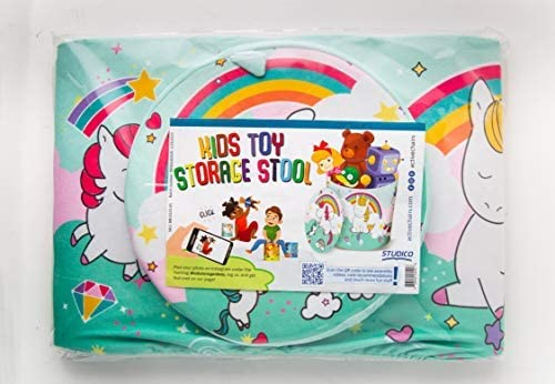 Fun /& Convenient Organization Stool for Modern Parents and Playful Children Living-Room /& More Kids Toy Storage Stool 10.23 x 10.78 Books or Blankets Organizer for Playroom Unicorn Toys
