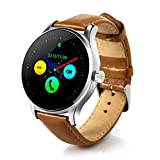 Sinma 1.2 inch Bluetooth Waterproof Smart Watch Coffee Leather Pedometer Heart Rate Detection Wristwatch