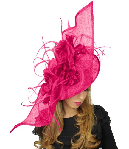36 Inch Elisaveta Ascot Fascinator Hat With Headband - Fuchsia by Hats By Cressida