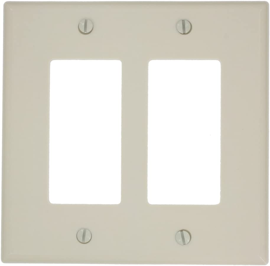Leviton 80609-T 2-Gang Decora/GFCI Device Wallplate, Light Almond