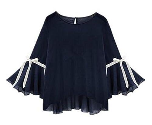Aoliait Tshirt Manga Larga Mujeres Manga Trompeta Tallas Grandes Camisa Relajado Camisetas Casuat Bl...