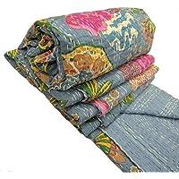 Yuvancrafts Kantha Fruit Screen Print Cotton Quilt Indian Bedspreads