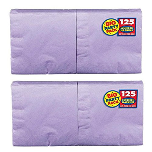 Cheers Lunch Napkins (2 X New Purple Big Party Pack - Lunch Napkins, 125 Count, 13in X 13in, 2 ply)
